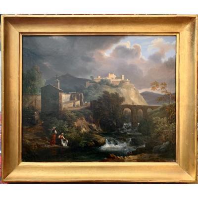 Jean Charles Joseph REMOND (Paris 1795 -1875) signée datée : Paysage italien animé