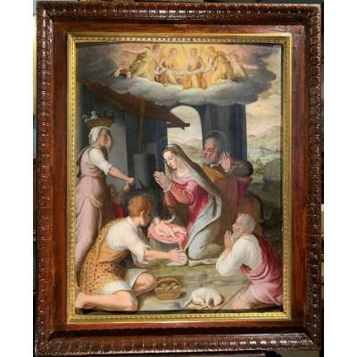 Adoration Of The Shepherds, Attributed To Giovanni Balducci Florence Second Half XVIth Century