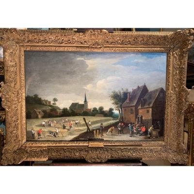 Paysage d'été orageux sur les moissons. Atelier de Jacques FOUQUIERES Anvers 1585 - Paris 1659