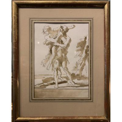 Venetian School Around 1750: Herakles Tearing Antée From The Ground - Entourage De Tiepolo