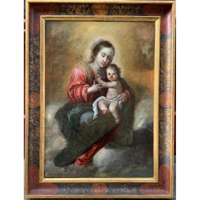 Madonna And Child By Francisco Meneses Osorio Spanish School XVIIth Century