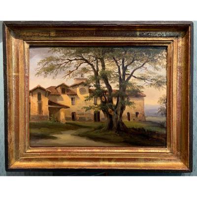 Provencal Monastery - French School Around 1830 Oil On Panel