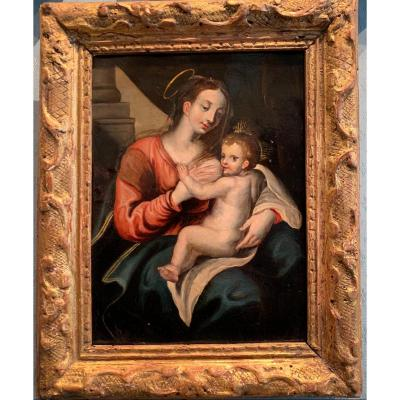 Virgin Mary Breastfeeding Jesus - Genoese School Italy Early 17th Century