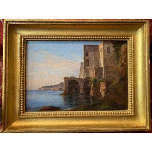 École De Posillipo Vers 1830,  Paysage De La Baie De Naples