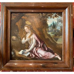 Marie-madeleine Repentante, Oil On Panel Second Half Of The XVIth Century - Flemish School