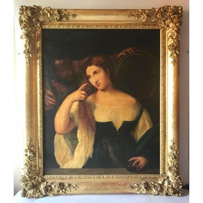 <br /> Very beautiful painting after Titien, copy with gilt frame from the 19th century<br />