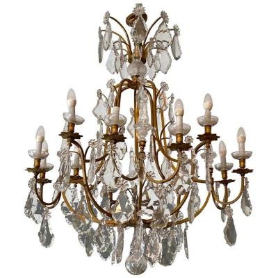 Louis XVI Style Cage Chandelier With Crystal Pendeloques Late 19th