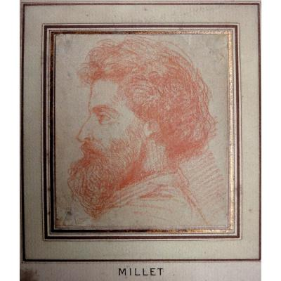 Portrait Of A Painter In Profile, Attributed To Jean François Millet, Sanguine