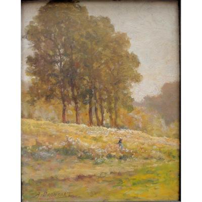 Alexandre Dronsart, Femme Dans La Prairie, Tableau Impressionniste.