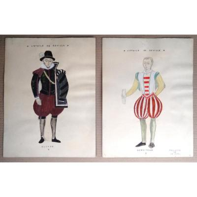 Jean Le Moal. Theater Costumes, Signed Gouache (1942)
