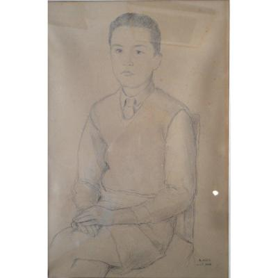 Portrait Of The Artist's Son. Drawing From 1949 By Armand Assus