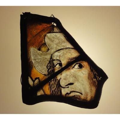 Man With Hat, Stained Glass From 15-16th Century