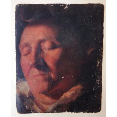 Sleeping Man, Painting On Canvas Circa 1830