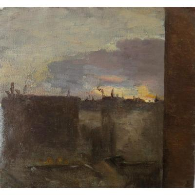 Parisian Roofs, Oil On Canvas. 19th Century Or Beginning Of The 20th Century