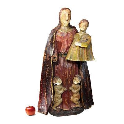 Vierge à l'enfant - bois polychome