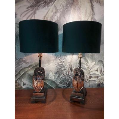 Paire de lampes Lions