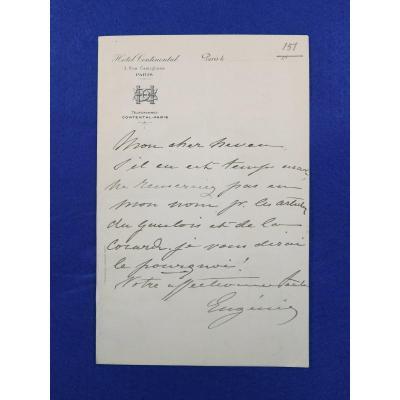 Lettre Autographe Signée De l'Impératrice Eugénie