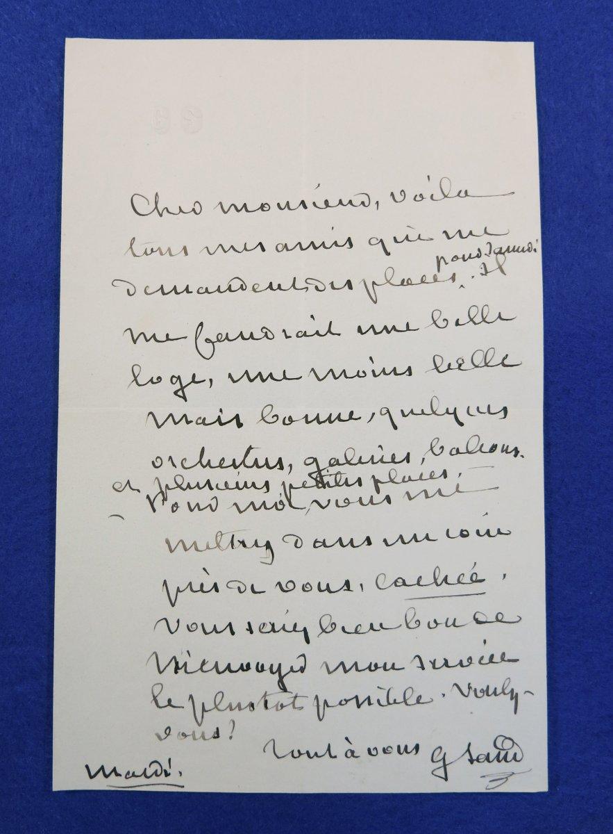 Lettre Autographe Signée De George Sand