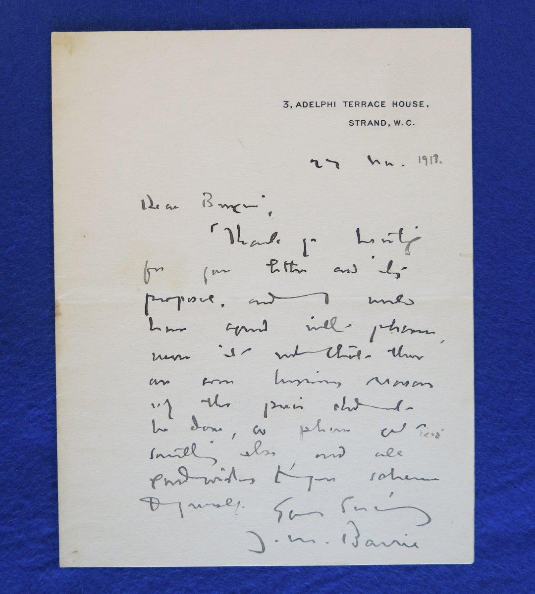 Lettre Autographe Signée De James Matthew Barrie