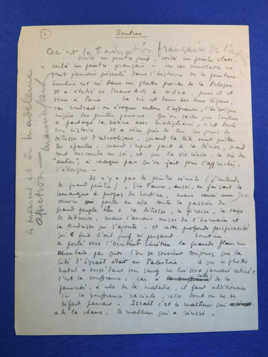 Manuscrit Autographe Signée De Maurice Sachs sur Chaïm Soutine-photo-2
