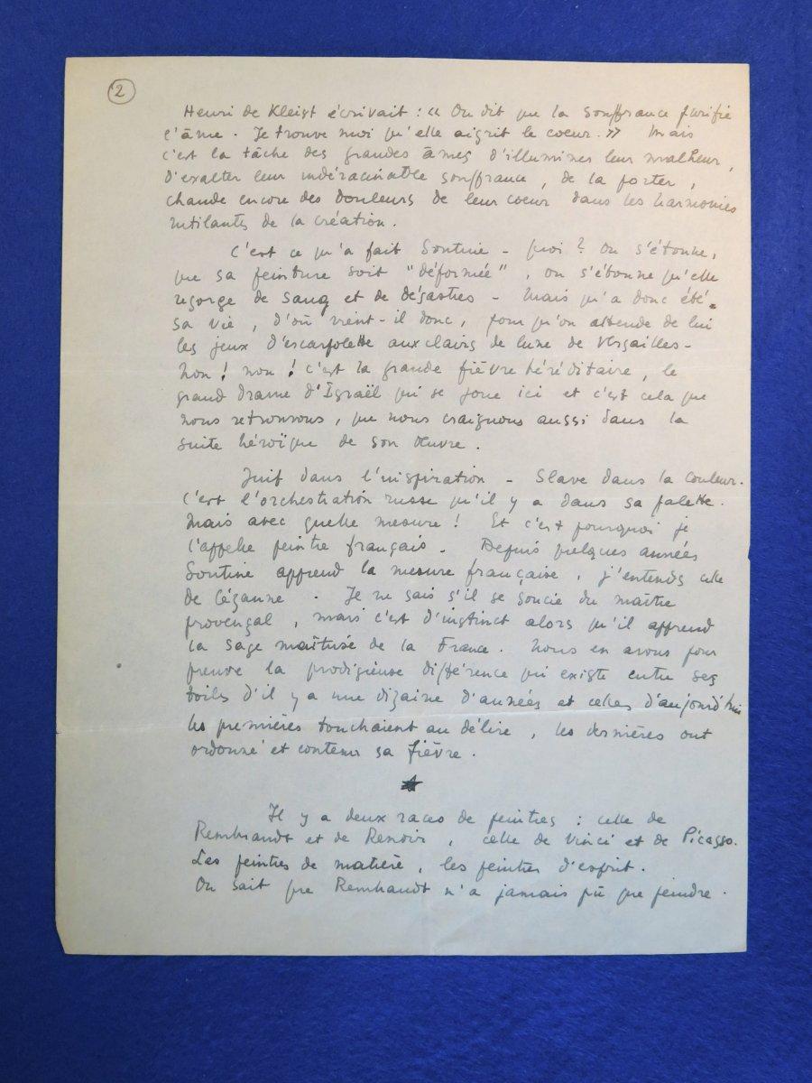 Manuscrit Autographe Signée De Maurice Sachs sur Chaïm Soutine-photo-3