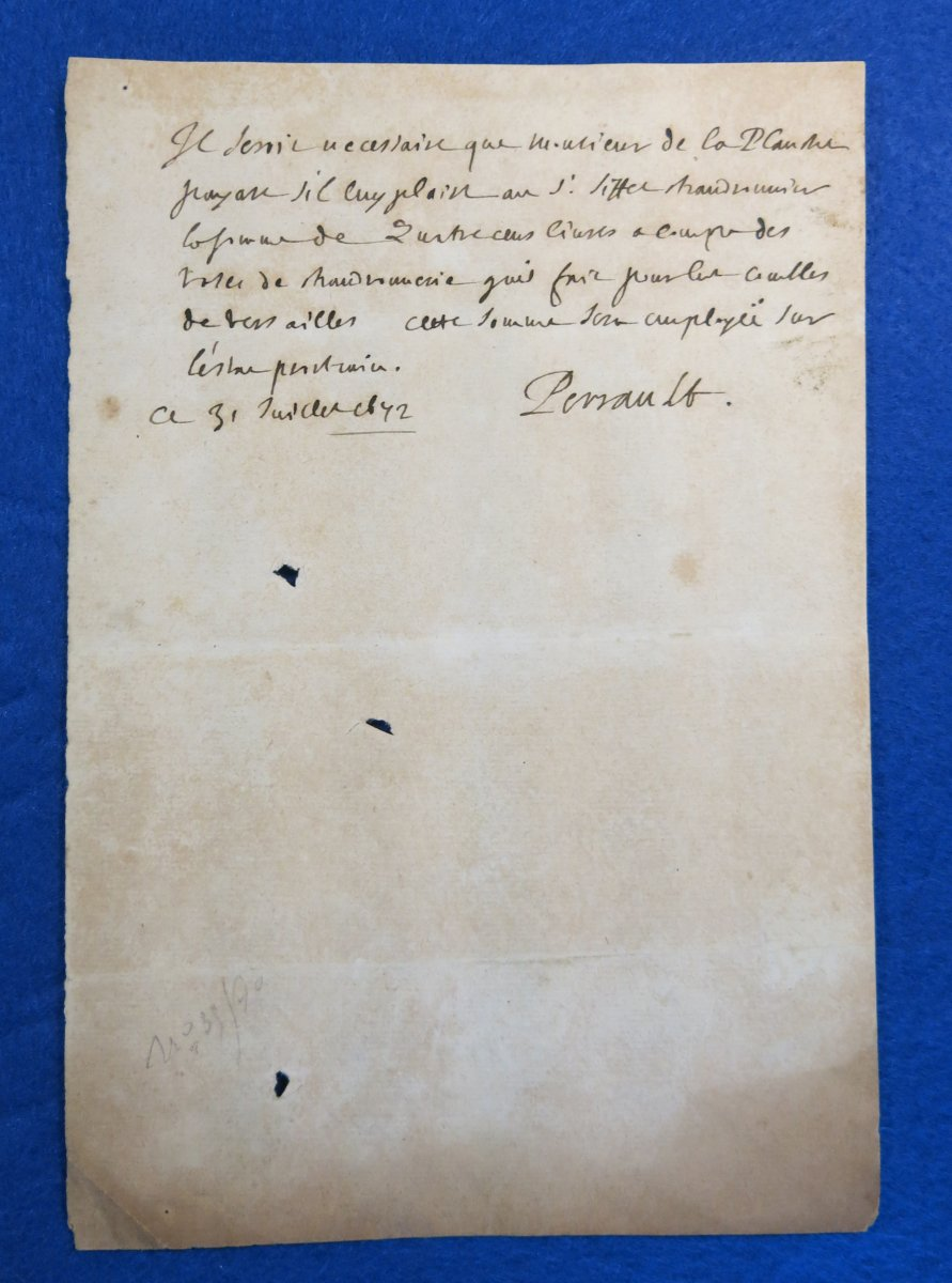 Autograph Letter Signed By Charles Perrault