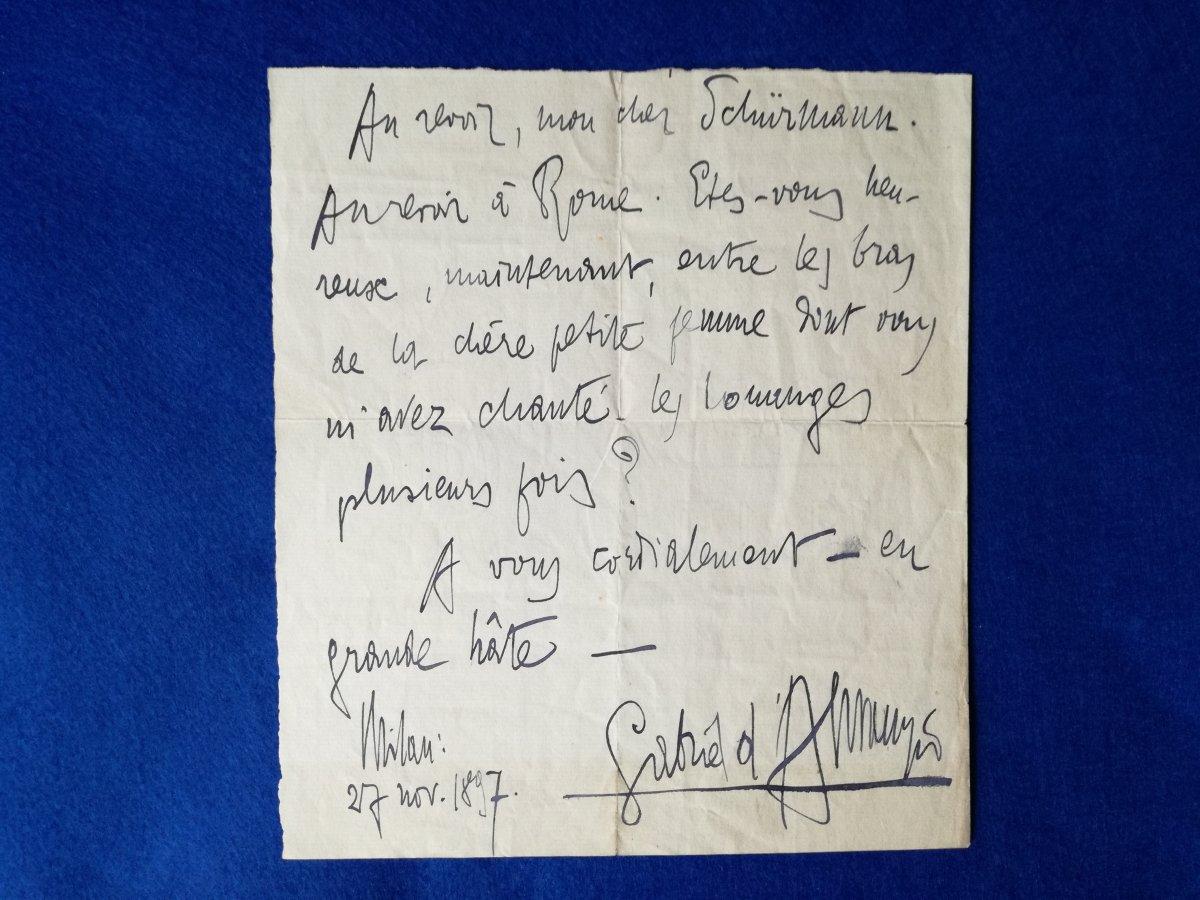 Lettre Autographe Signée De Gabriel d'Annunzio