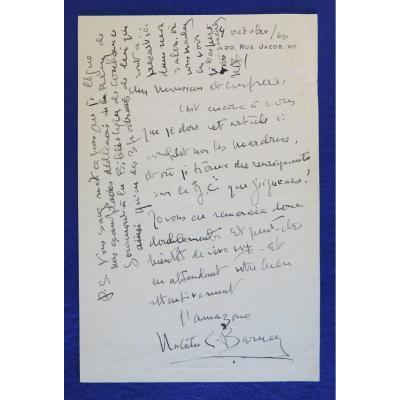 Lettre Autographe Signée De Natalie Clifford Barney