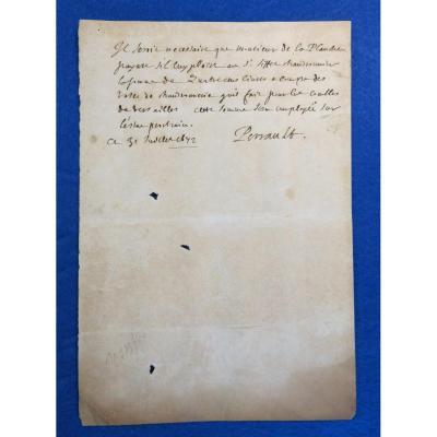 Billet Autographe Signé De Charles Perrault