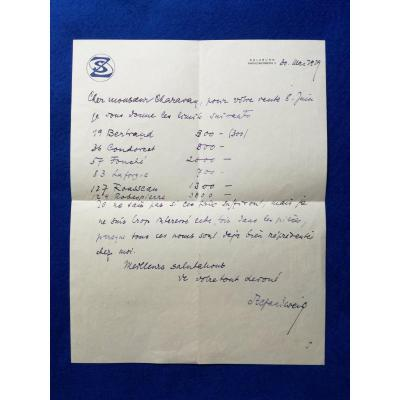 Lettre Autographe Signée De Stefan Zweig