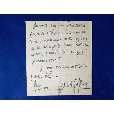 Autograph Letter Signed By Gabriel d'Annunzio