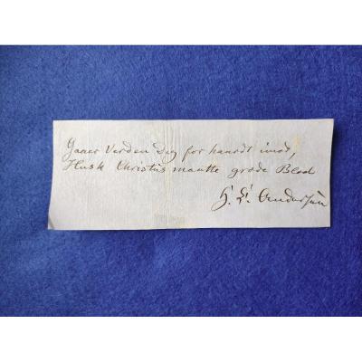 Andersen Billet Autographe Signé