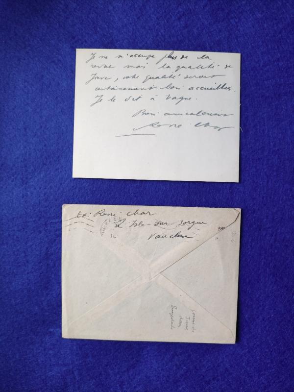 Carte Autographe Signée De René Char-photo-2