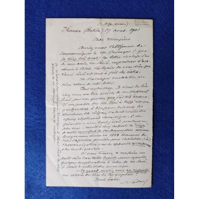 Lettre Autographe Signée De Nadar