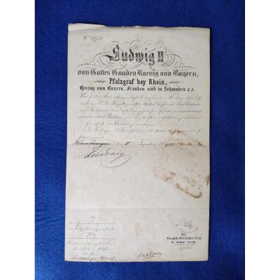 Lettre Signé De Louis II Bavière