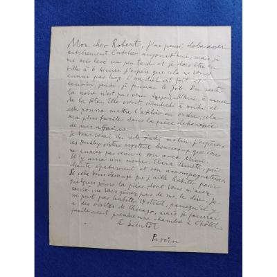 Lettre Autographe Signée De Jules Pascin