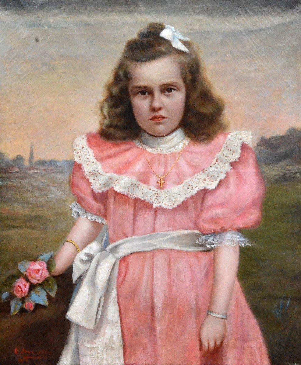 """little Girl In A Pink Dress"" Edouard Créancier."