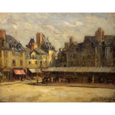 """animated Market In Rouen In 1917"" Gustave Madelain"