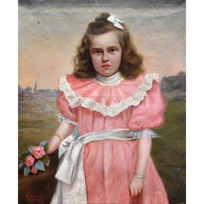 « Petite fille en robe rose » Edouard Créancier.