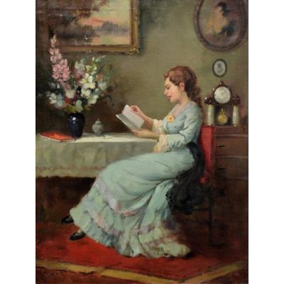 Young Woman Reading, In An Interior.