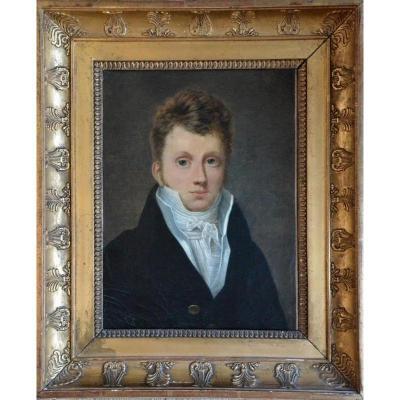 """""""Jeune élégant ."""" Ecole française vers 1810."""