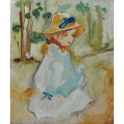 Miniature impressionniste « petite fille au ruban bleu »
