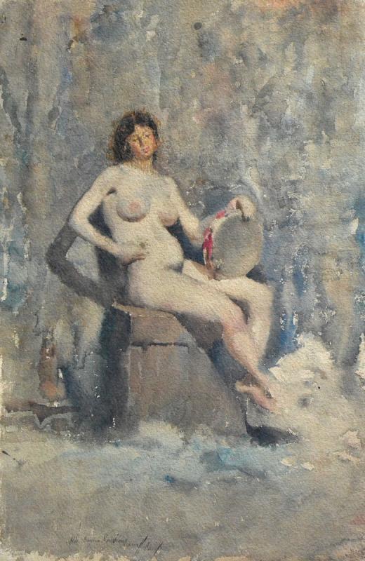 « Nu au tambourin» Eugène Damblans (1865 – 1945)-photo-2