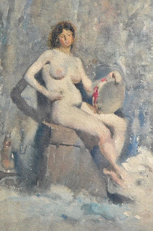 « Nu au tambourin» Eugène Damblans (1865 – 1945)-photo-3