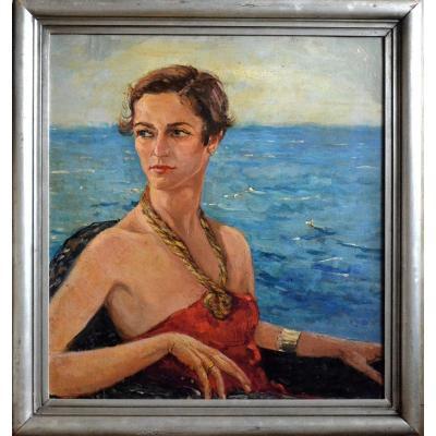 """""""elegant By The Sea, 1930"""" Pier Antonio Gariazzo (1879 - 1963)"""