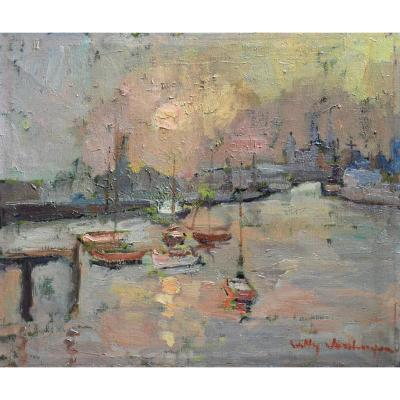 """""""the Port Of Ostend"""" Willy Van Huyse (1911 - 1993)"""