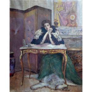 Jeune femme dans un intérieur Louis XV