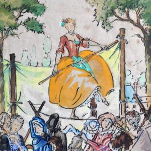 « La funambule (détail) » Jean-Edouard  BOSCHER (1888 - ?)