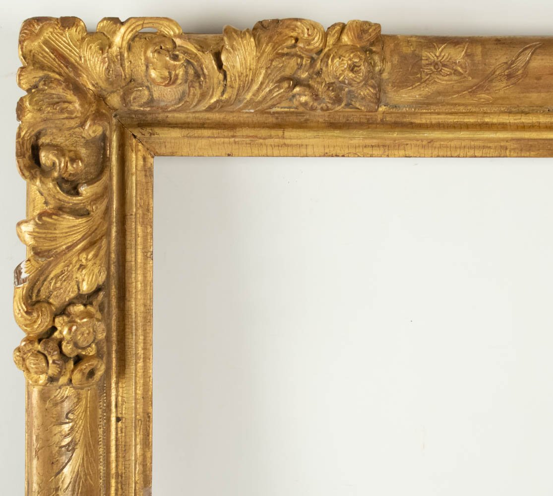 Fabulous Louis XIV Period Frame, Mirror With Flower Corners, France 18th Century-photo-2
