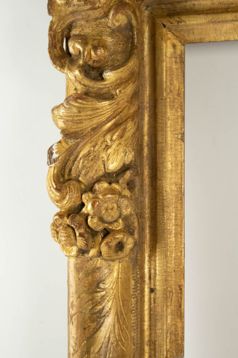 Fabulous Louis XIV Period Frame, Mirror With Flower Corners, France 18th Century-photo-3